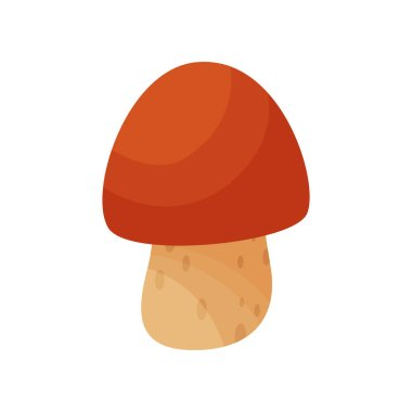 Flat vector icon of cep or boletus edulis. Small mushroom with brown cap. Type of edible forest fungus