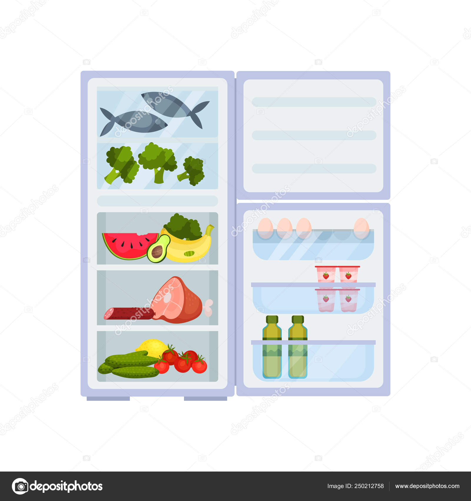 Open refrigerator full of products  Meat and fish, fresh