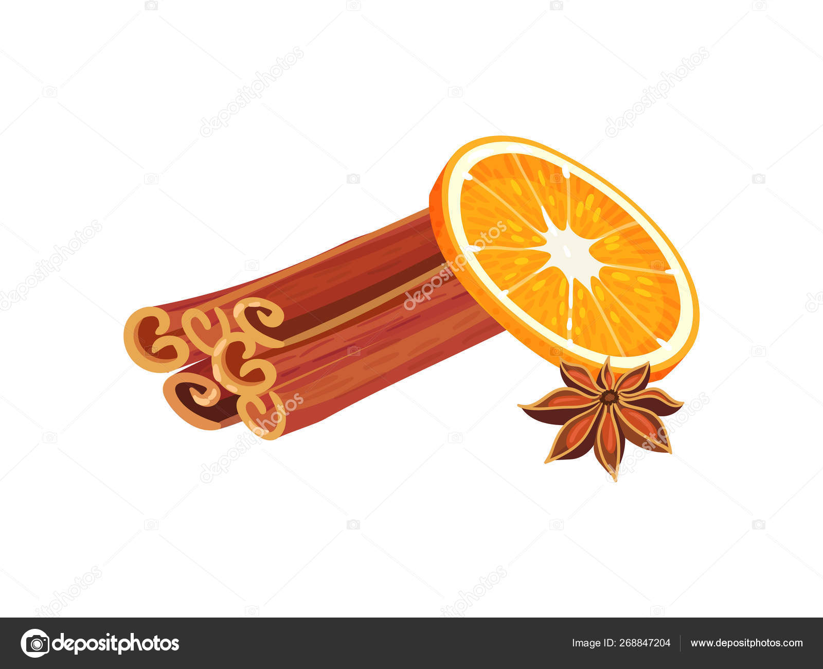 Pile of cinnamon sticks next to orange slice  Vector