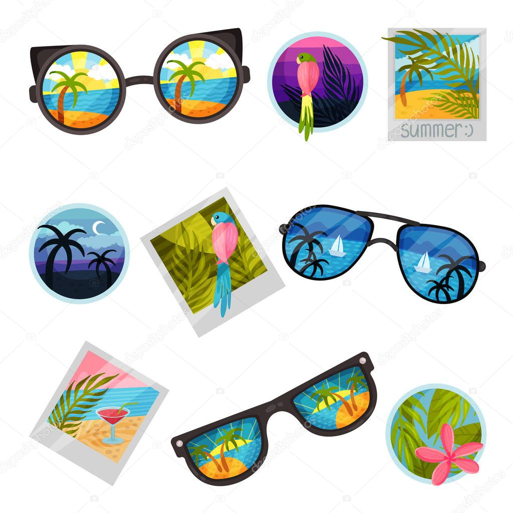 Set of images of summer landscapes. Vector illustration on white background.