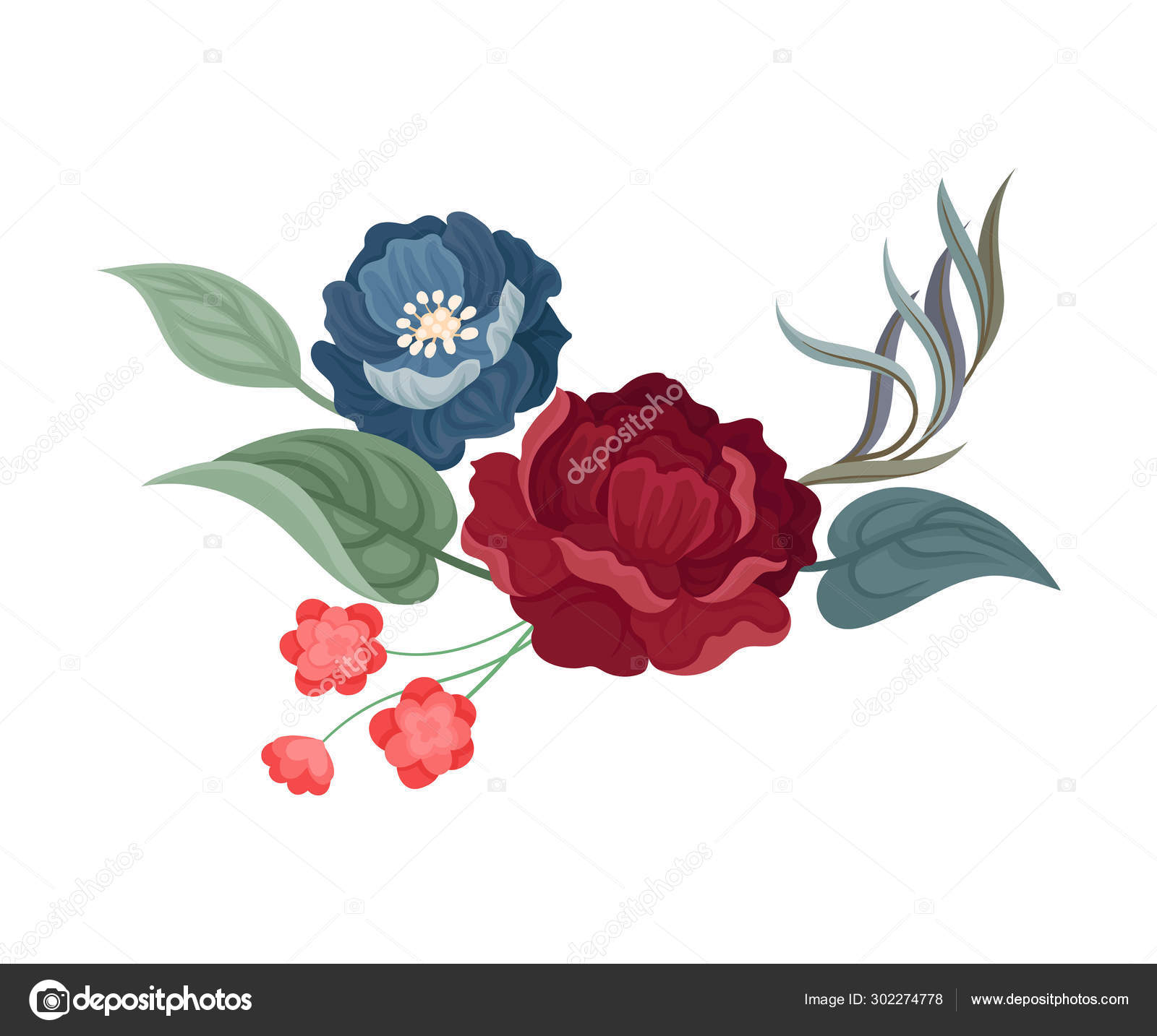 Dark Red Rose And Large Blue Flower Vector Illustration On A White Background Vector Image By C Happypictures Vector Stock 302274778