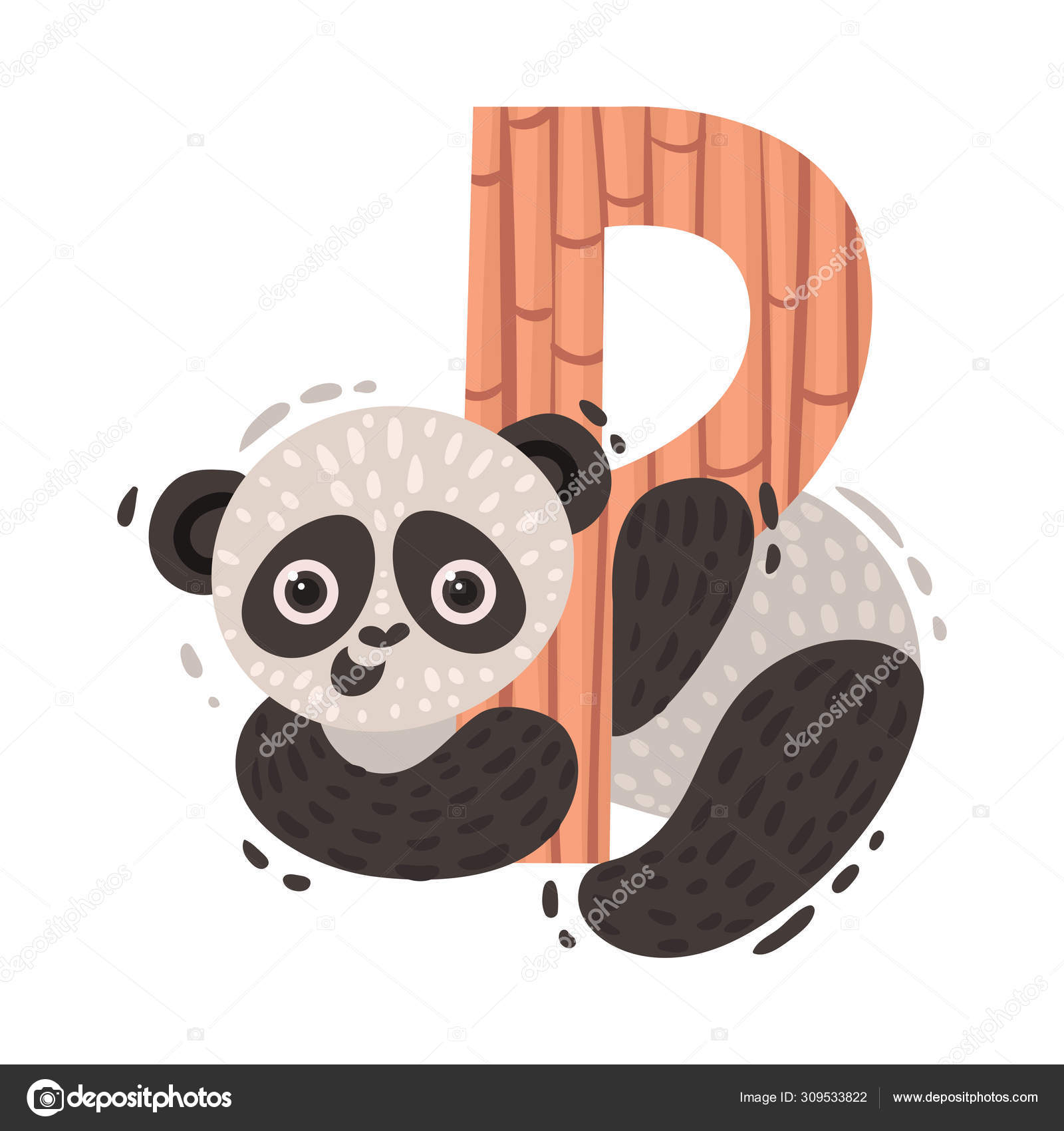 Panda and letter P. Vector illustration on a white background. 10