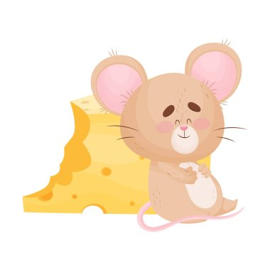 Cartoon mouse is sitting near a piece of cheese. Vector illustration.
