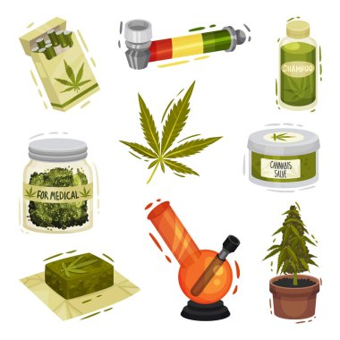 Cannabis Plant Things and Items Vector Illustrated Set