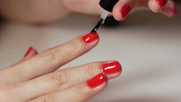 Weibliche Hände Maniküre mit roten Nägeln Nahsicht auf weißem Hintergrund. klassische Farb-Maniküre.