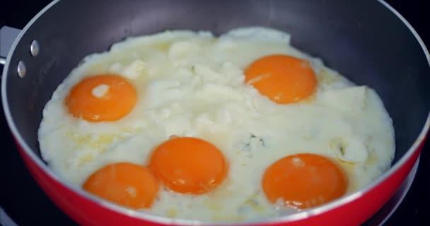 Šéfkuchař připravuje fritovací vejce, vaří v másle, ochuceno solí a černou paprikou a zelenou cibulí v malé červené pánvi. Koncepce zdravého stravování.