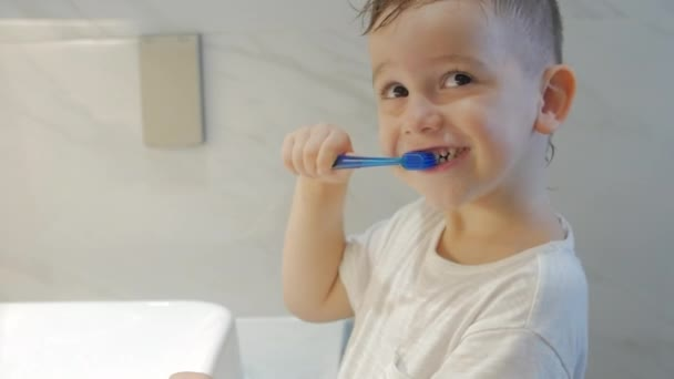Happy portrait cute caucasian little boy preschool brushing teeth in bathroom. Child daily healthcare routine. Kid with white tooth looking at mirror isolated at home. Smiling Lifestyle.