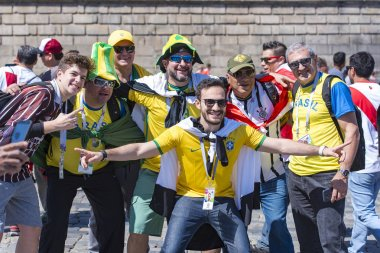 MOSCOW - JUN 14: Football fans in Moscow during the 2018 FIFA World Cup on June 14. 2018 in Russia