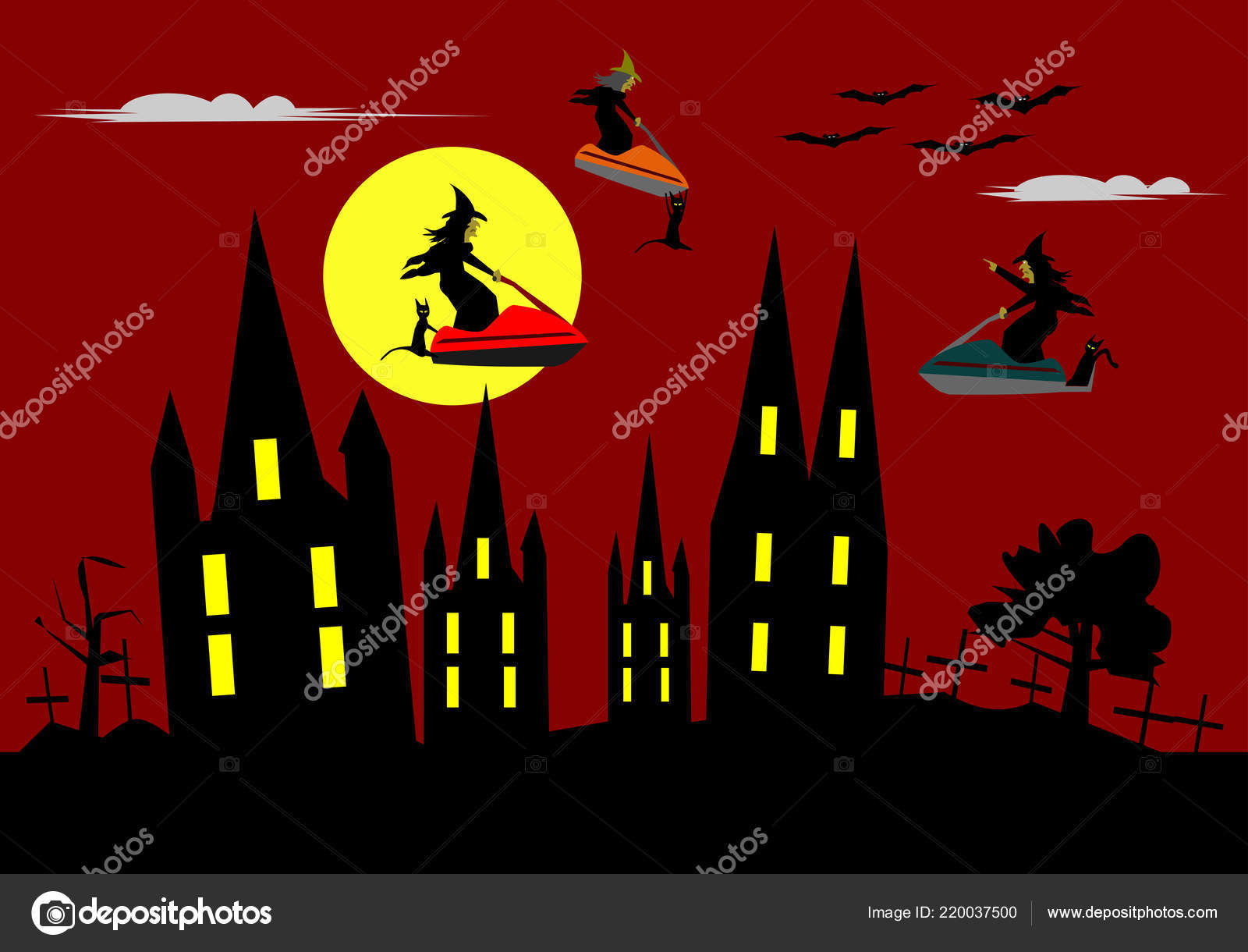 Funny Halloween Three Witches Riding Jet Ski Red Sky Moon