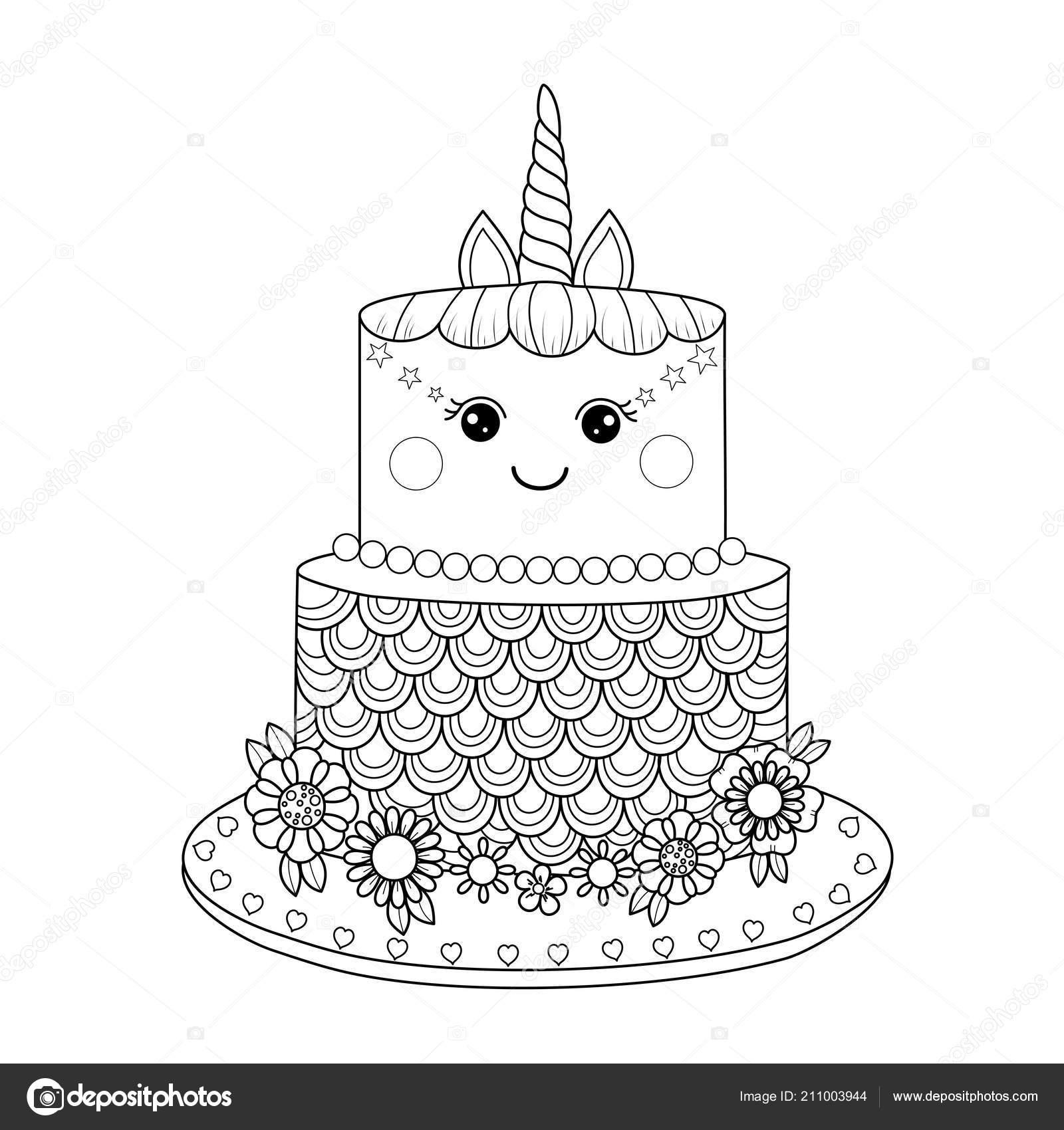 единорог торт раскраски книги взрослых векторные иллюстрации