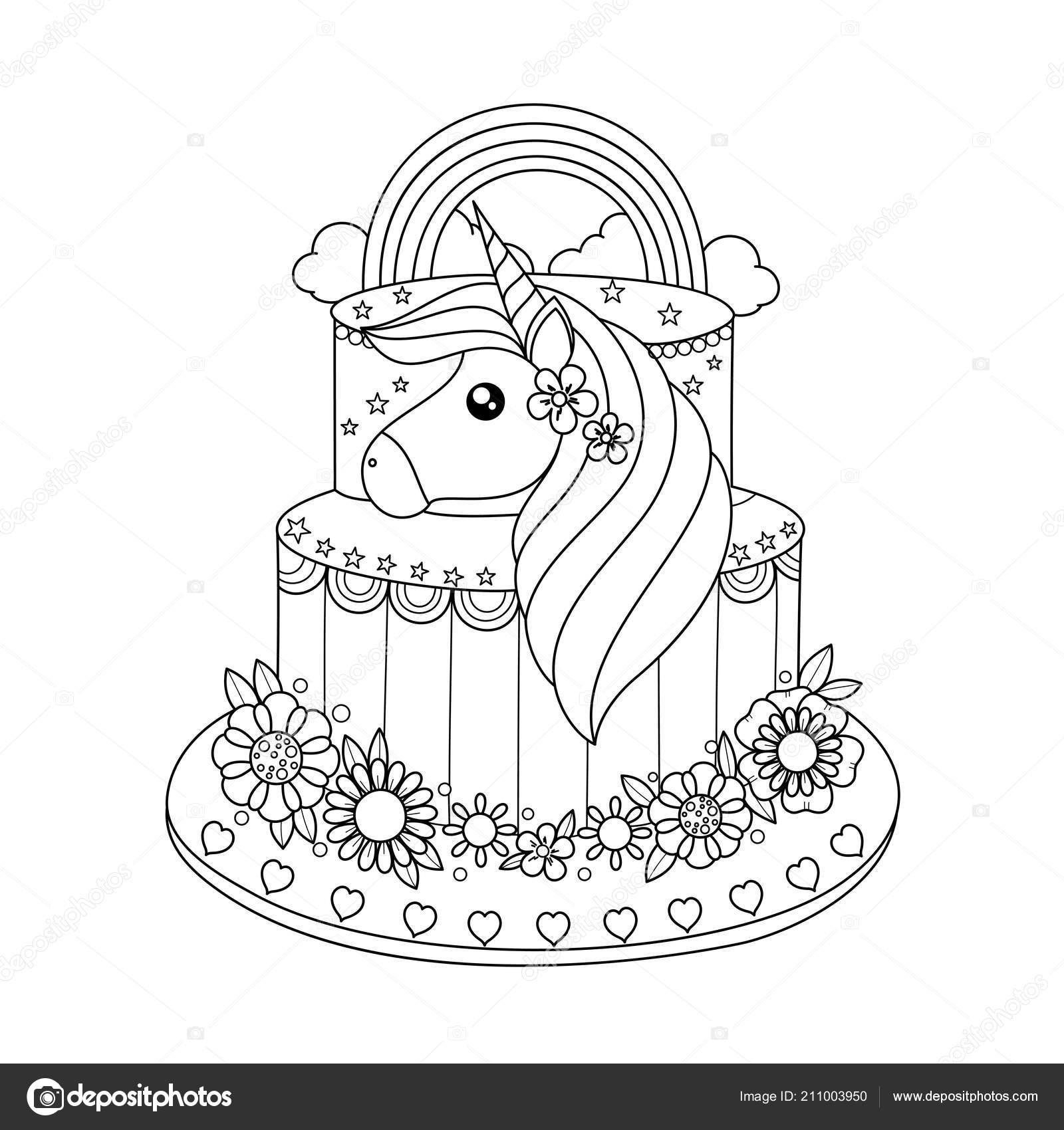 Pastel Unicornio Para Colorear Libro Para Adultos Ilustración Vector