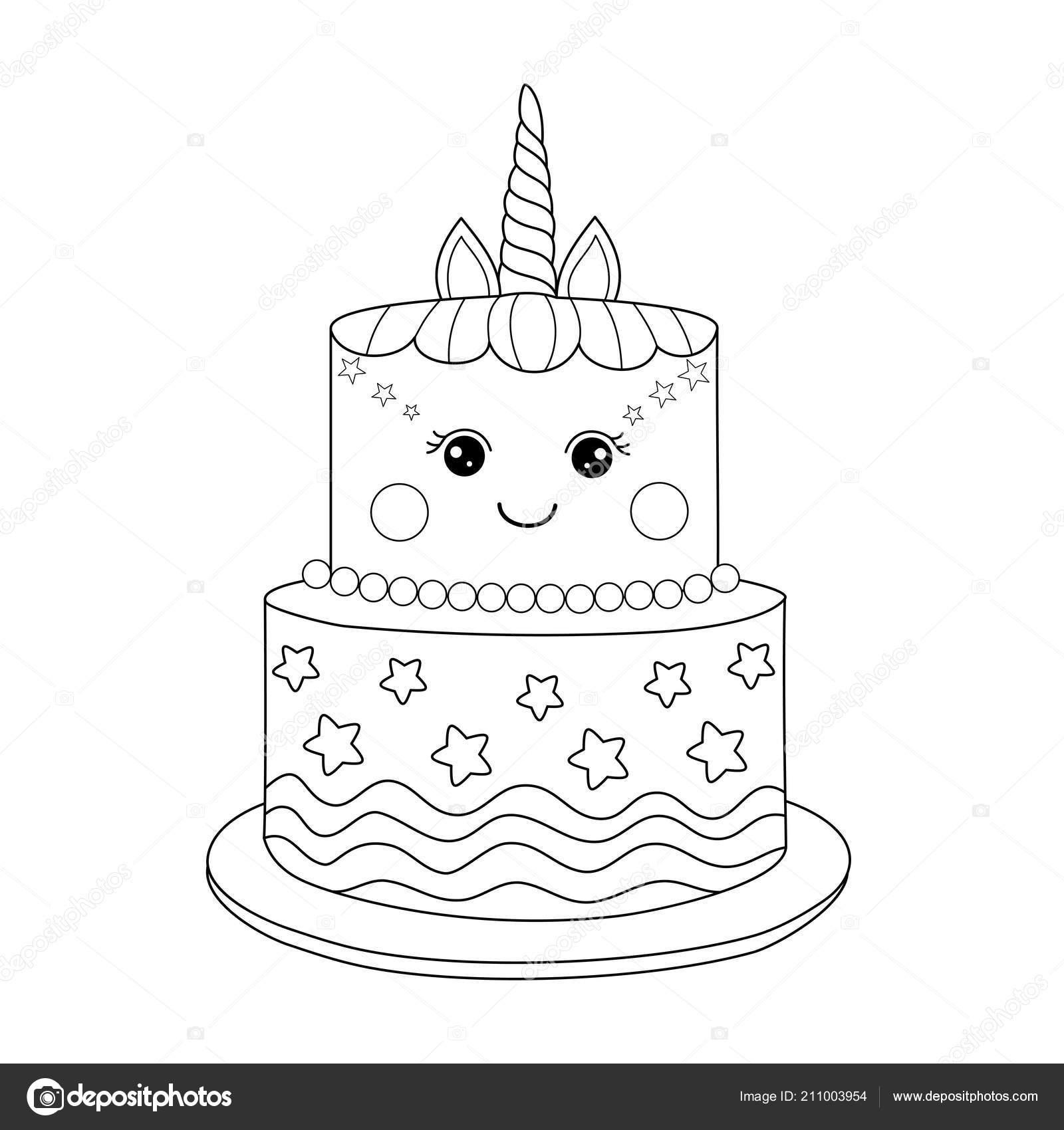 Coloriage Gateau Cake.Gateau Licorne Coloriages Pour Adulte Illustration Vectorielle