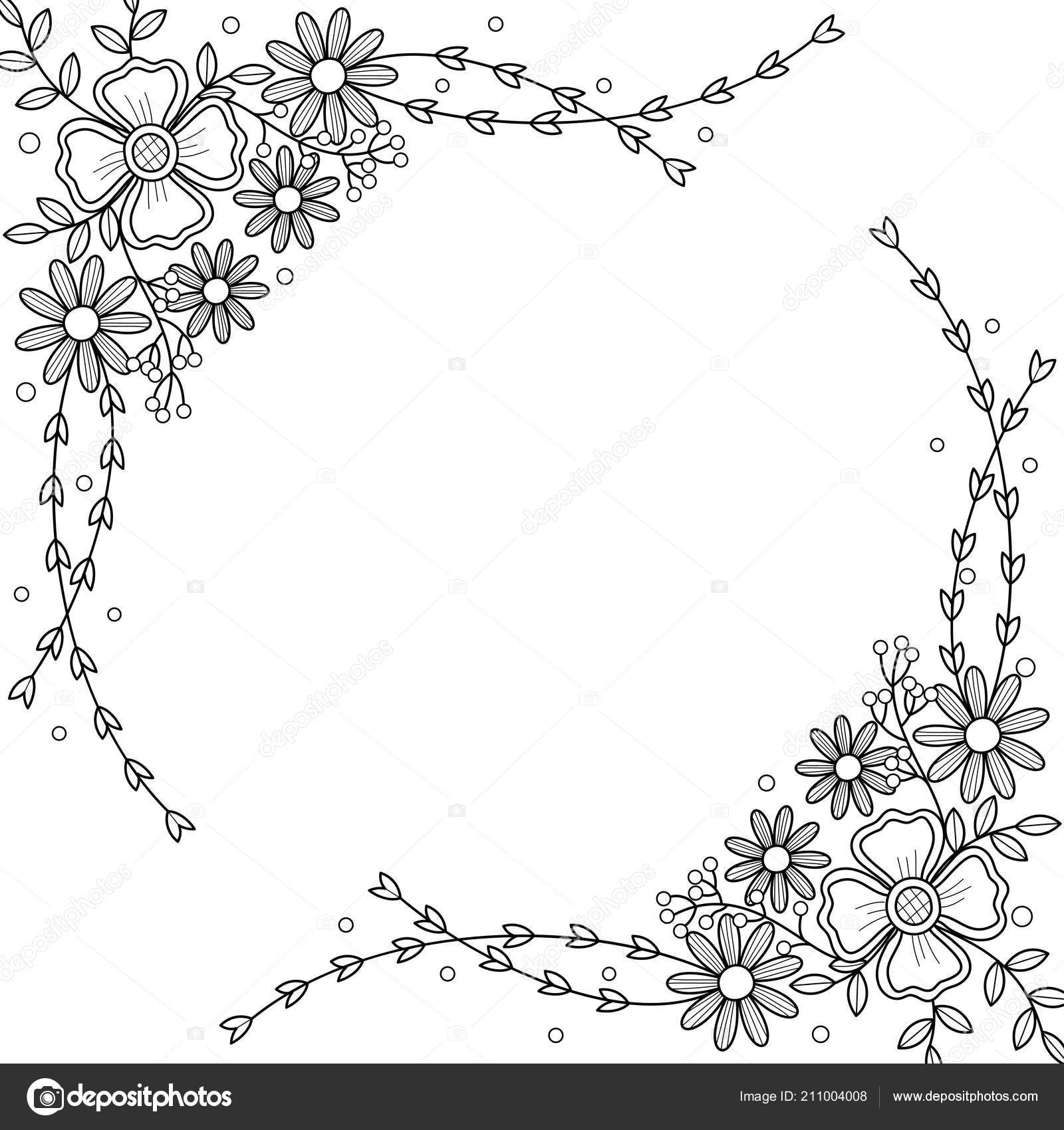 Flowers Frame Coloring Book Adult Doodle Style Vector ...