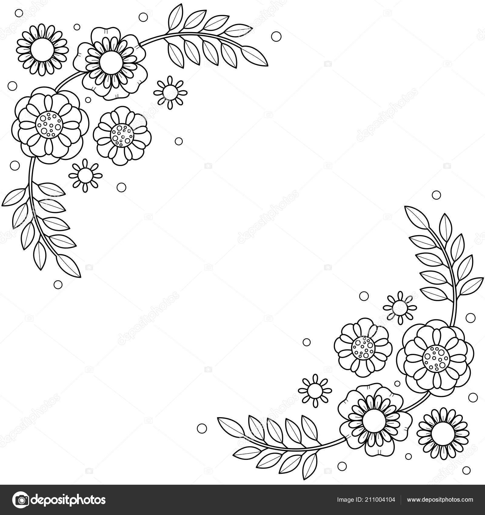 Marco Flores Para Colorear Libro Para Adultos Doodle Style Vector
