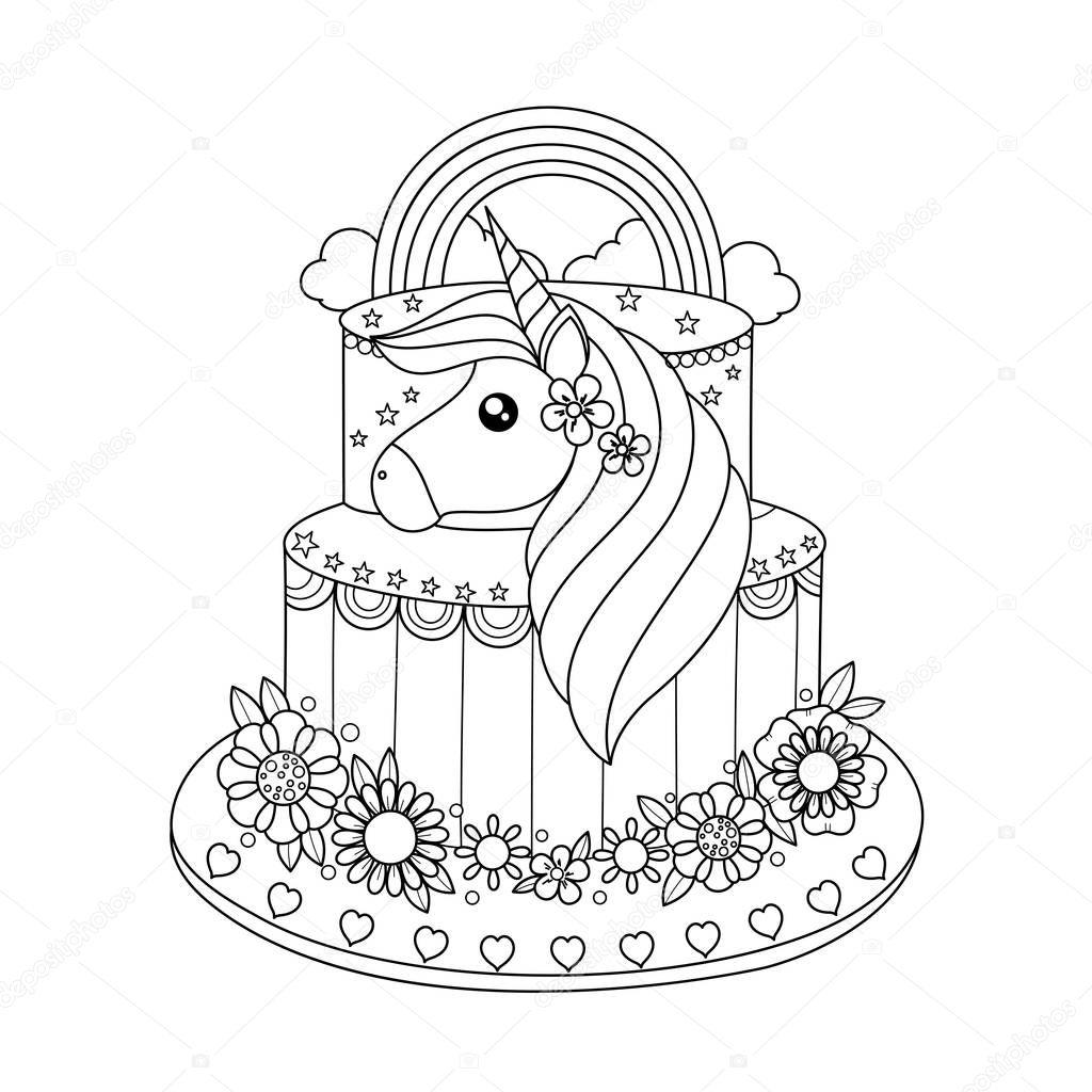 unicorn taart kleurplaat boek voor volwassen