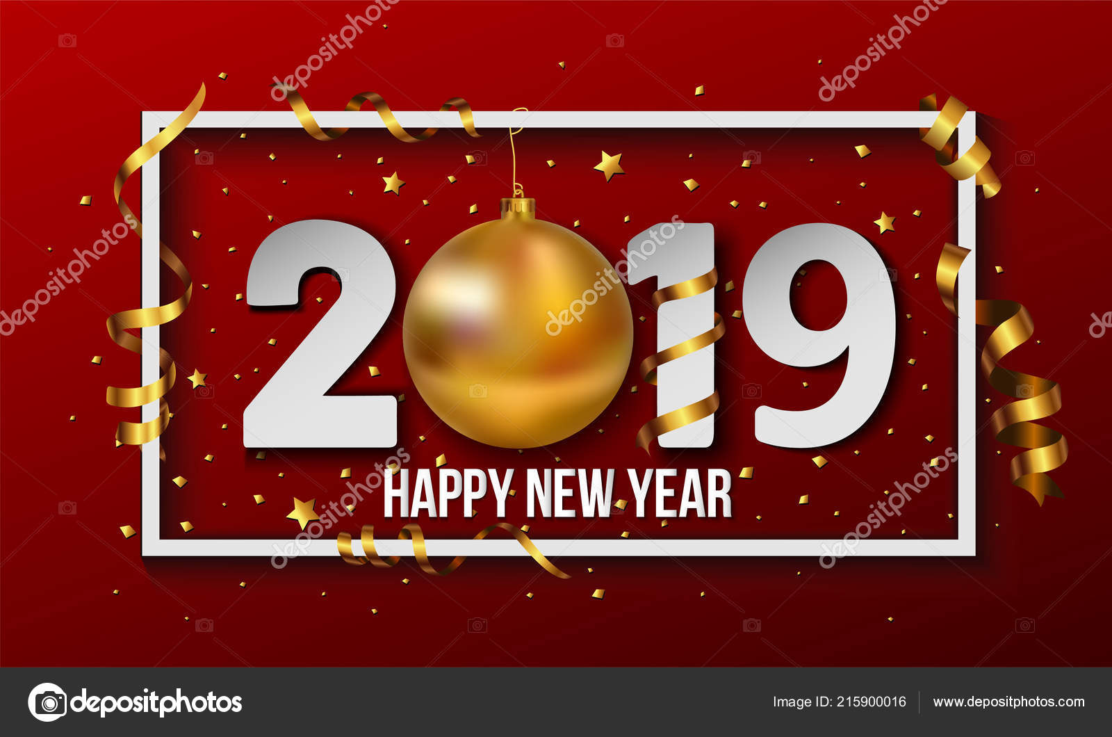 vector 2019 happy new year background golden christmas ball bauble stock vector