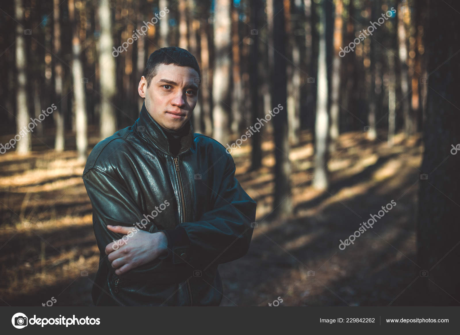 Young Man Criminal Appearance Black Leather Jacket Posing