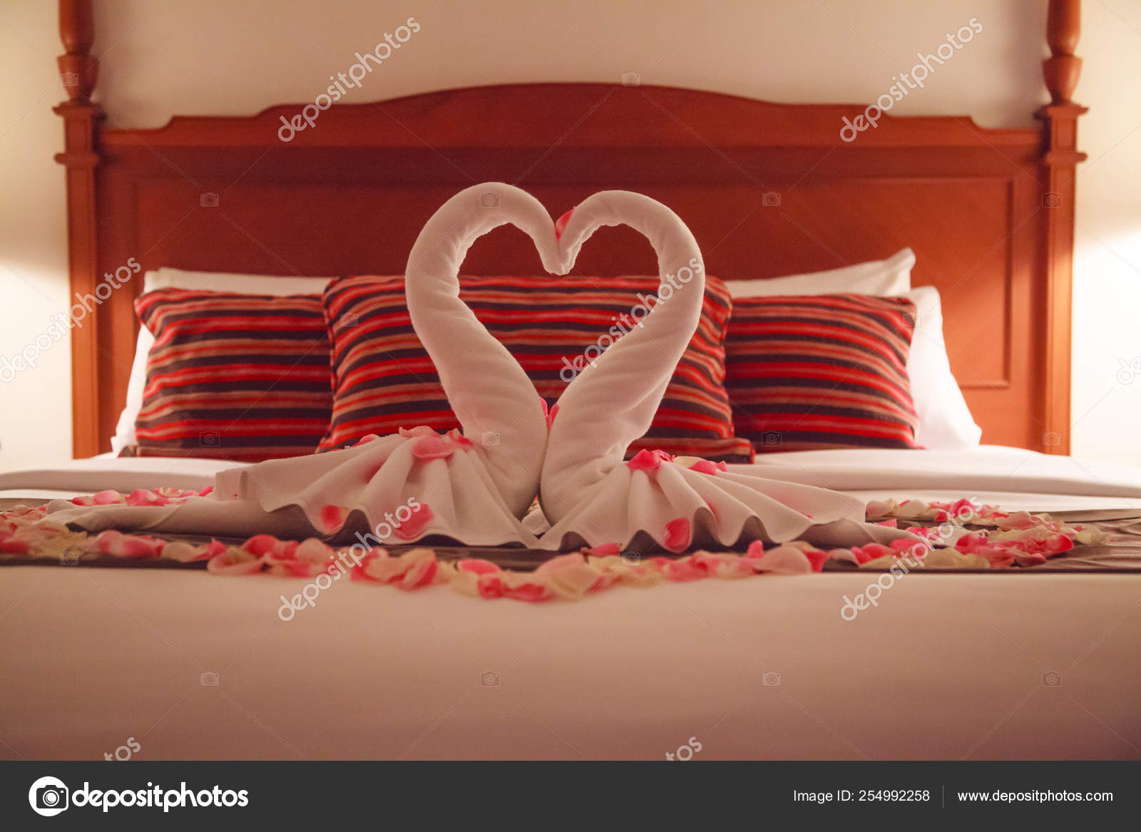 Photo Kissing Swan Towels Romantic Bedroom Interior Kissing Swan Origami Towels Sprinkled Fresh Pink Stock Photo C Victorflowerfly 254992258