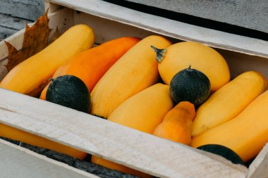 yellow marrow squash in a wooden box, top view