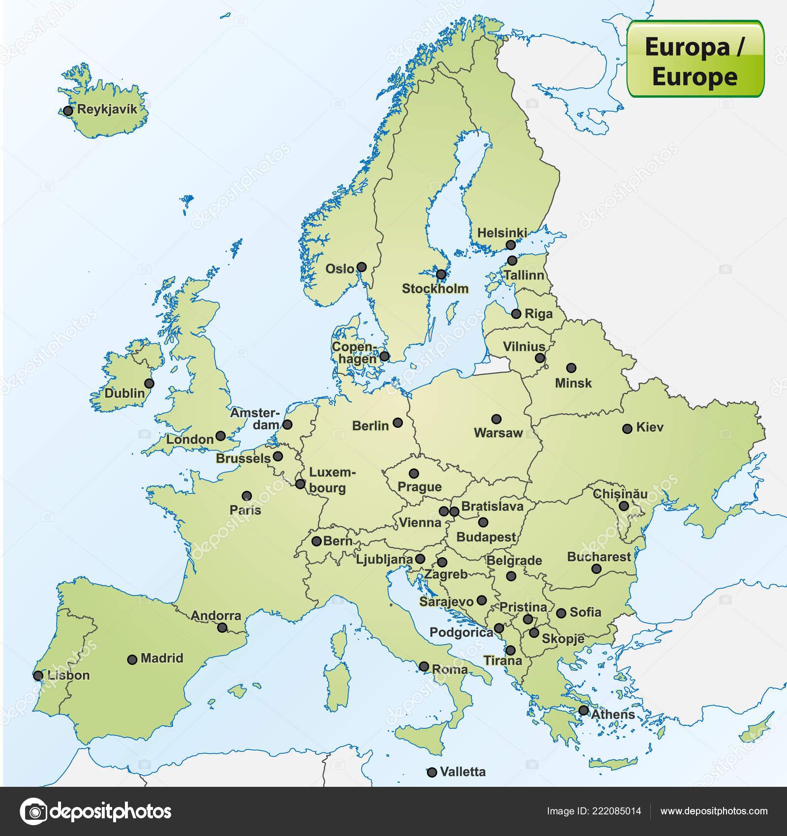 Map Europe Capital Cities Stock Photo C Artalis 222085014