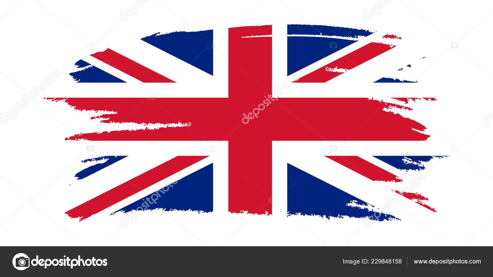 Bandera Del Reino Unido Pincel Pintada Bandera Reino Unido