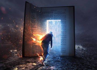 A man on fire runs towards an open Bible with refreshing rain.
