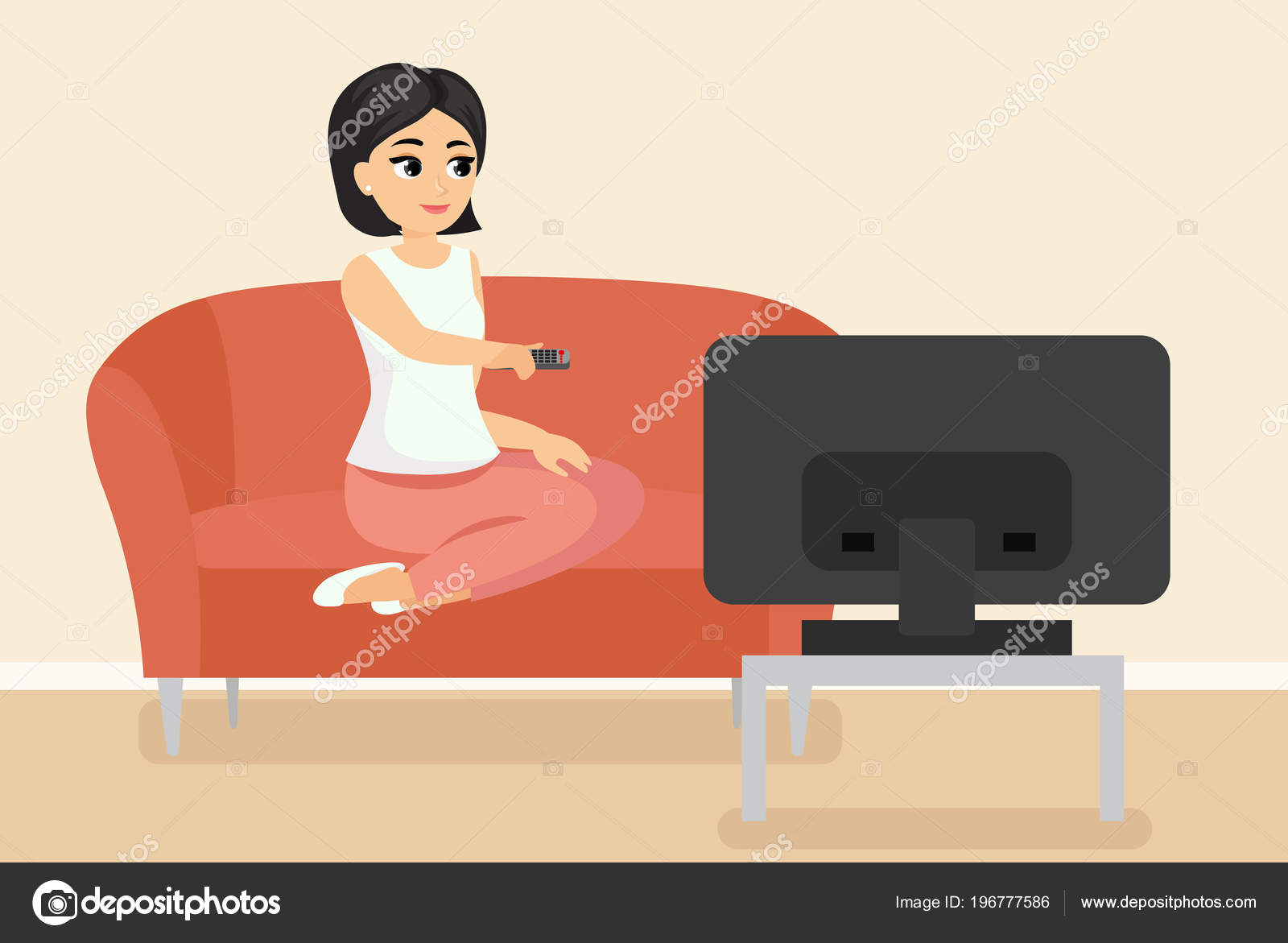 Vector illustration of woman sitting on couch watching TV. Young adult girl  on sofa in