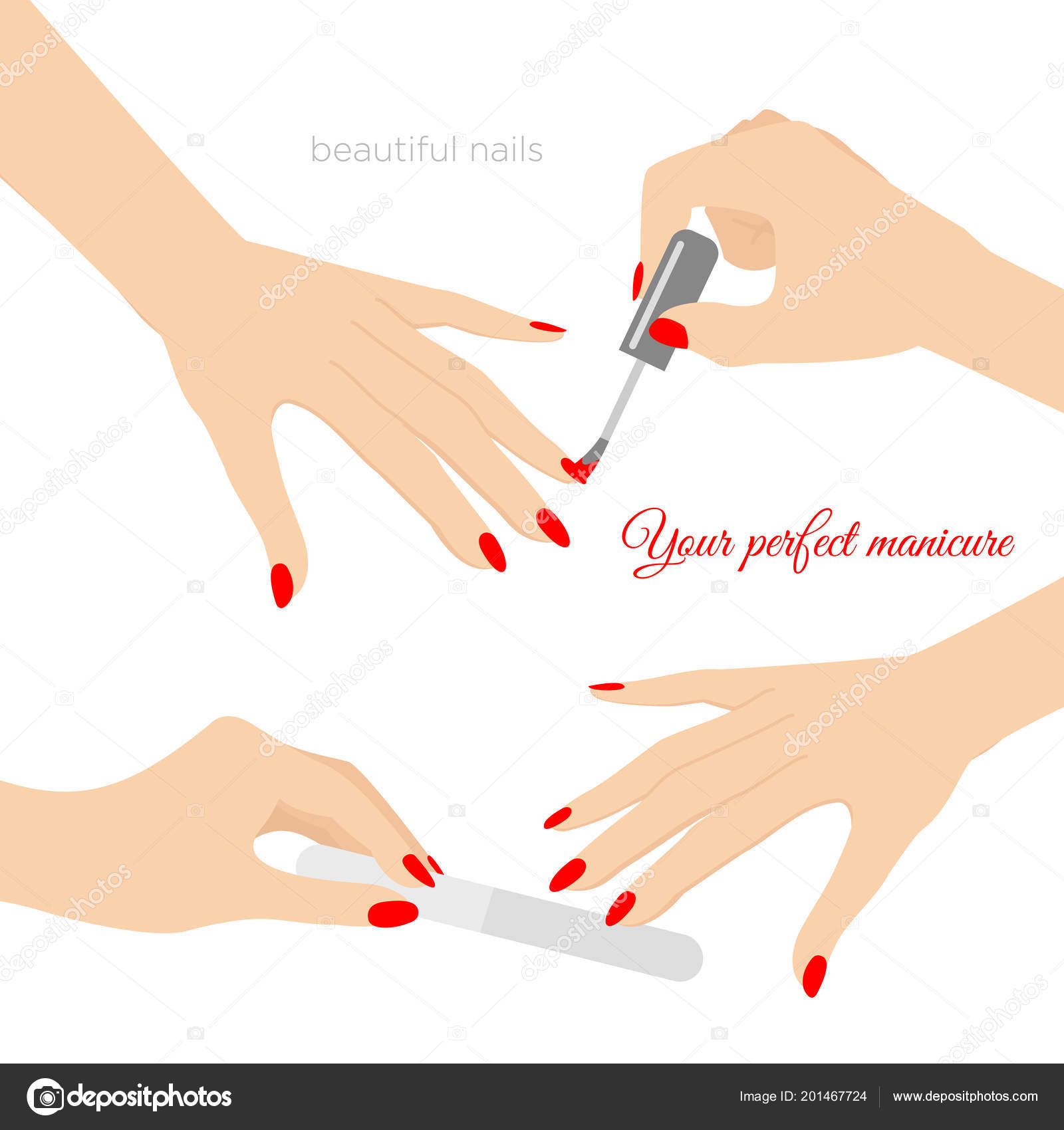 Vector Illustration Of Manicure Concept Nail Health Care Of Hands