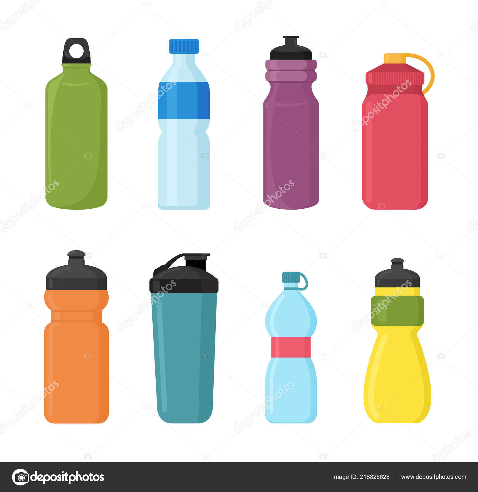 Vector illustration set of bicycle plastic bottle for water