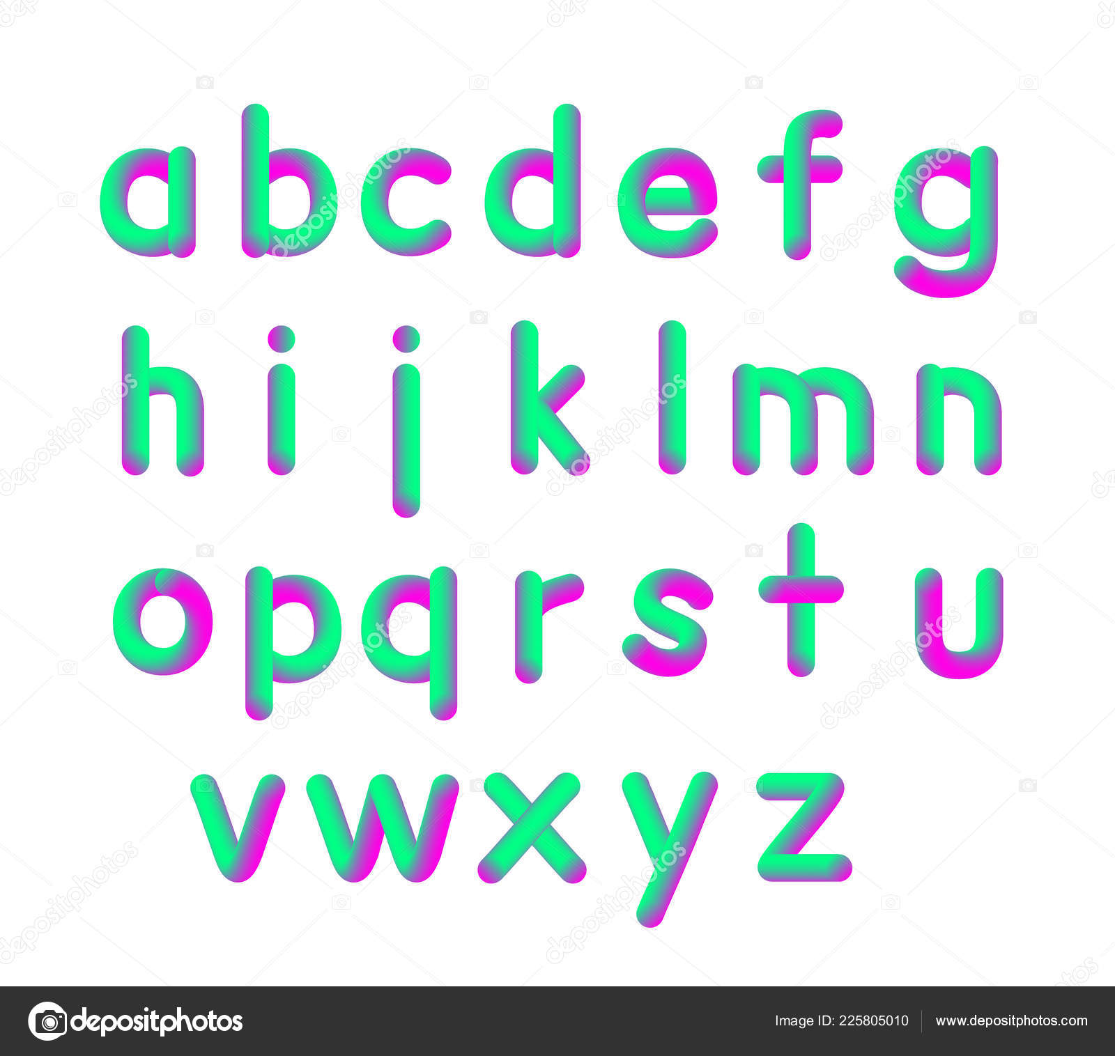 Vector Illustration Of Soft Flexible Neon 3d Font Small Letters