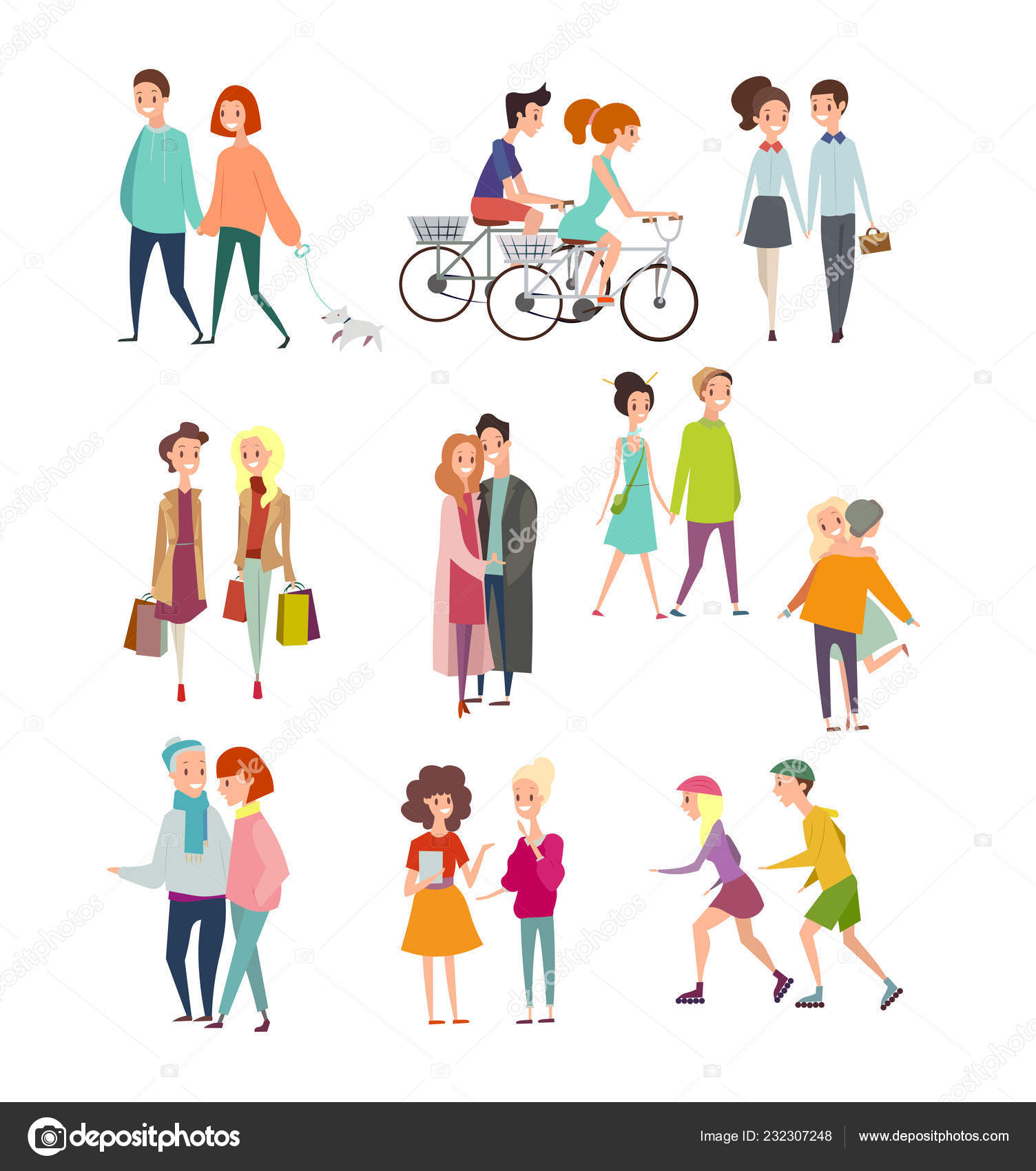 歩行や立っている人々 は日カップル一緒に歩いて自転車に乗って