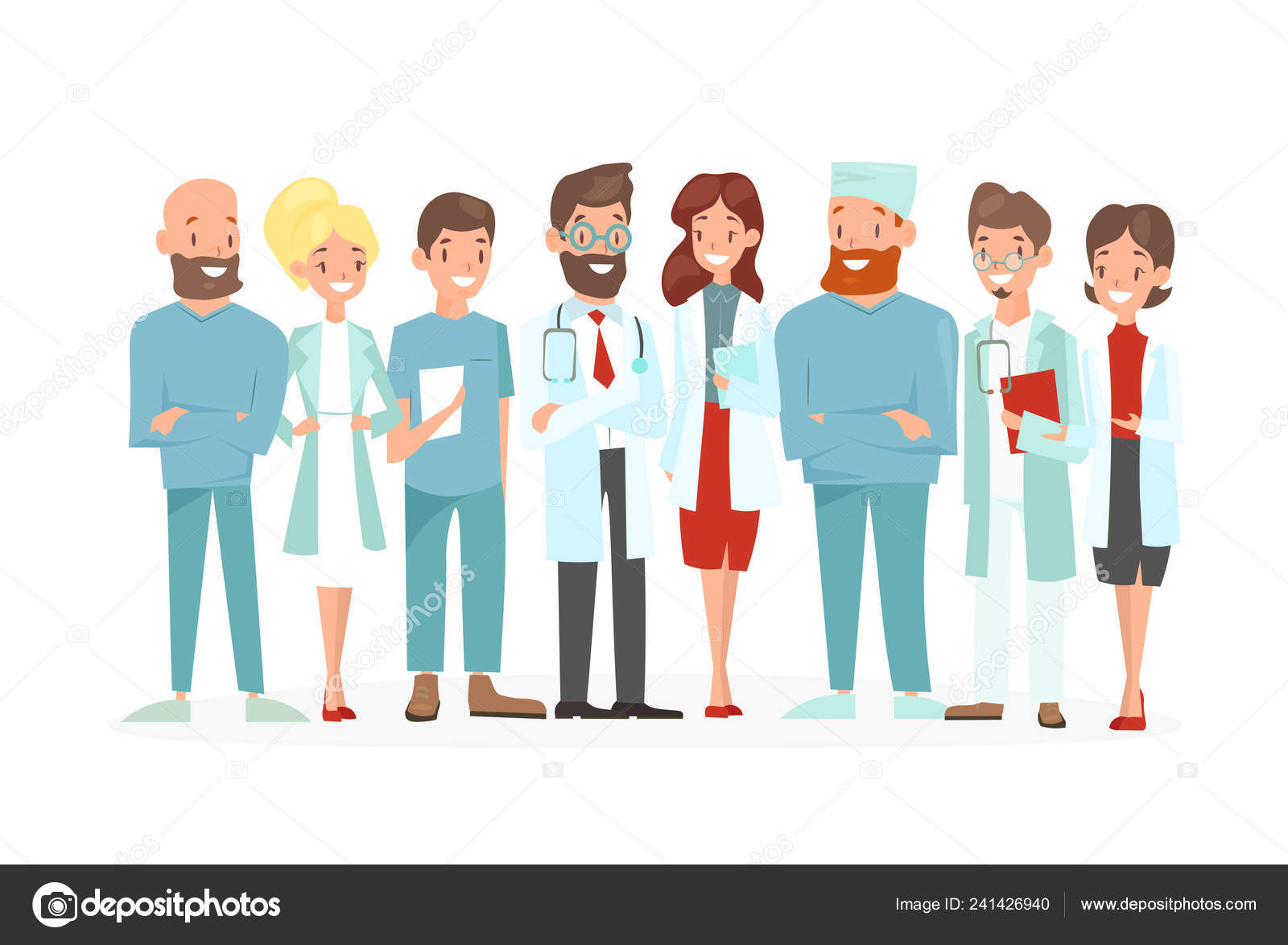 Vector Illustration Of Doctors Team Happy And Smile Medical Workers