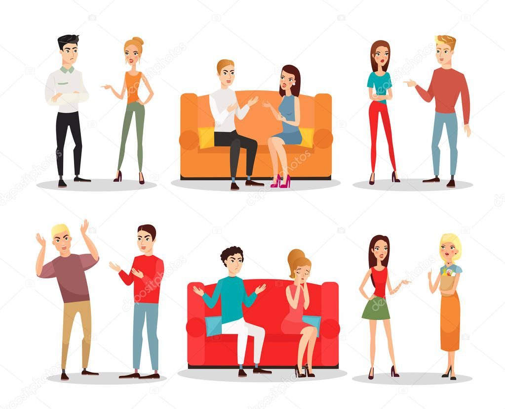 Vector Illustration Set Of People Fighting And Quarrelling Scandal Men And Women Screaming And Fighting Crazy People In Different Positions Flat Cartoon Style Premium Vector In Adobe Illustrator Ai Ai
