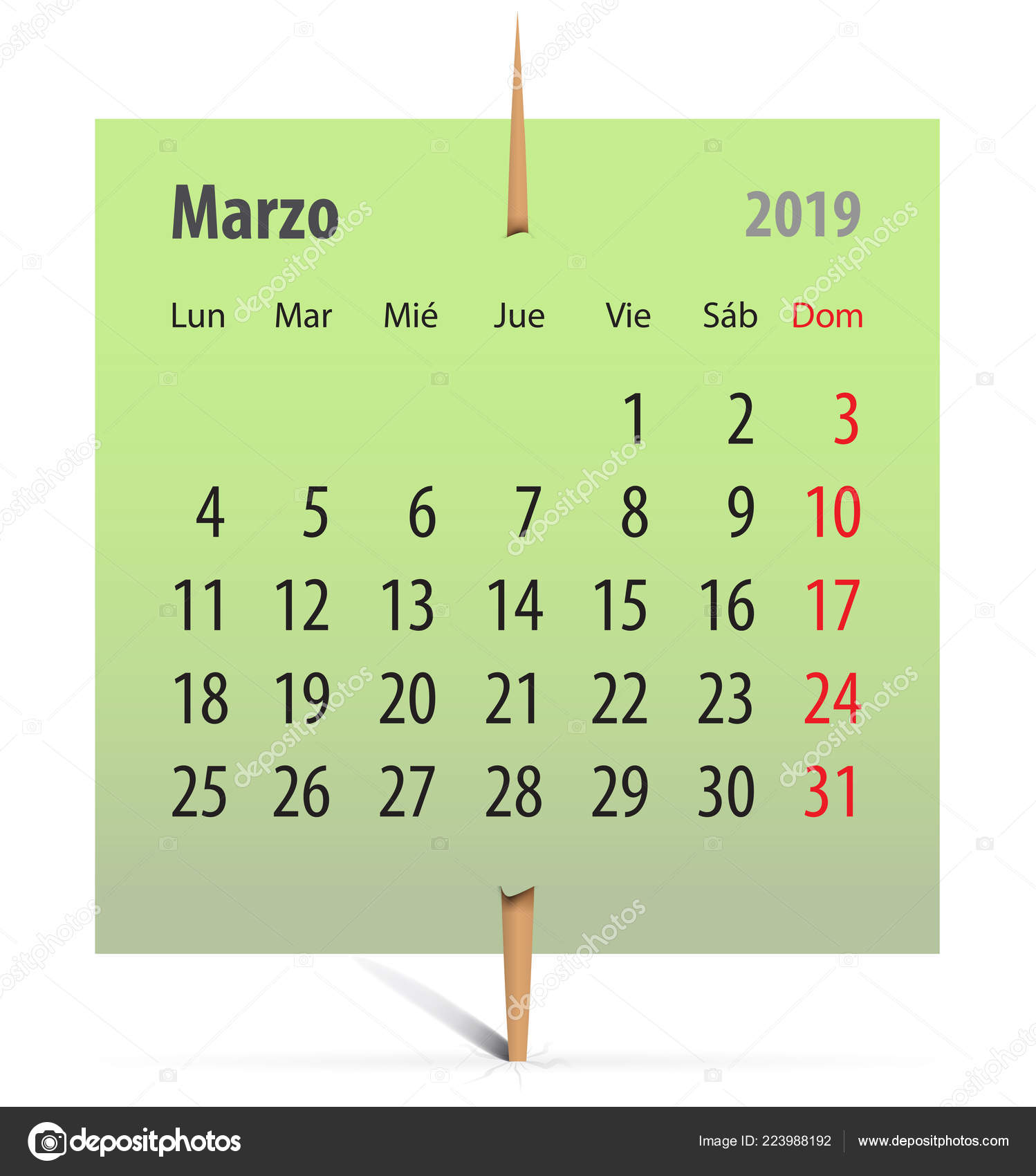 Calendar For March 2019 In Spanish On A Green Sticker Attached With Toothpick Vector Il Ration Stock Il Ration