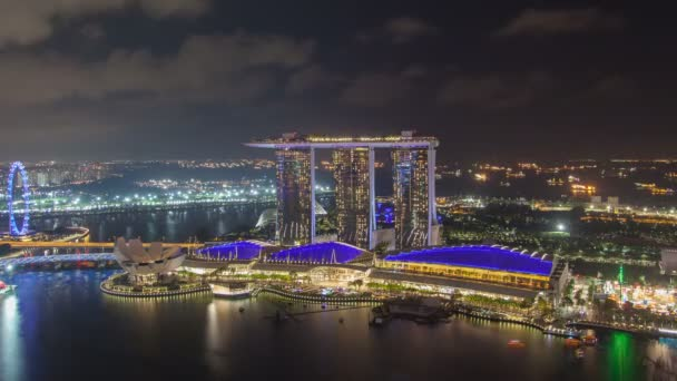 Skyline von Singapur Nacht Marina Bay Sands Zeitraffer