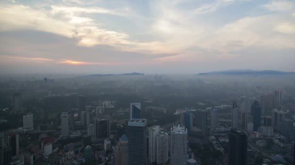 Beautiful Kuala Lumpur sunset timelapse overlooking the city skyline