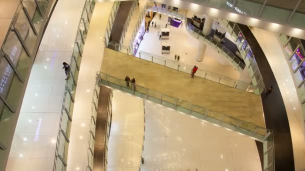 Shopping mall hall people traffic view from above timelapse