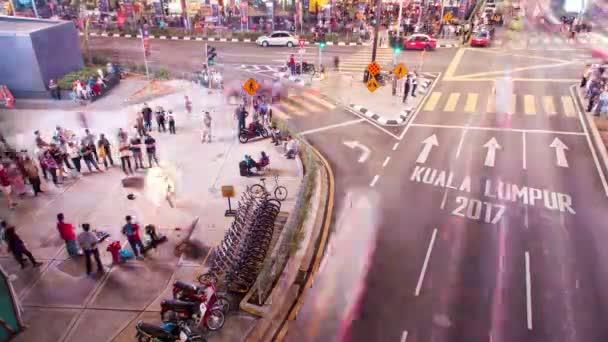 Timelapse traffic of a busy junction at Bukit Bintang Kuala Lumpur, Malaysia