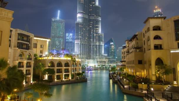 Downtown Dubai Lake night timelapse