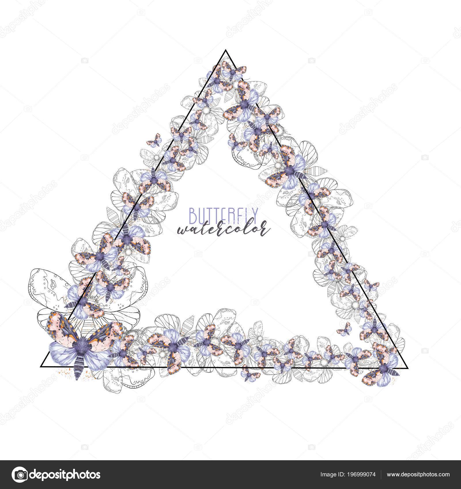 skriva grattis Dekorativ Ram Form Cirkel Akvarell Fjärilar Lila Skriva För  skriva grattis