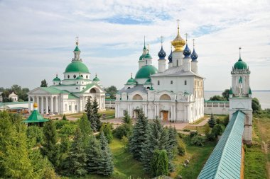 ROSTOV VELIKIY, RUSSIA: Architectural ensemble of Spaso-Yakovlevsky (St. Jacob Savior) monastery from the South-West tower in a cloudy summer day.