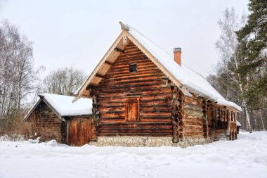 Old Peasant Farm of Kokorins in Snowfall