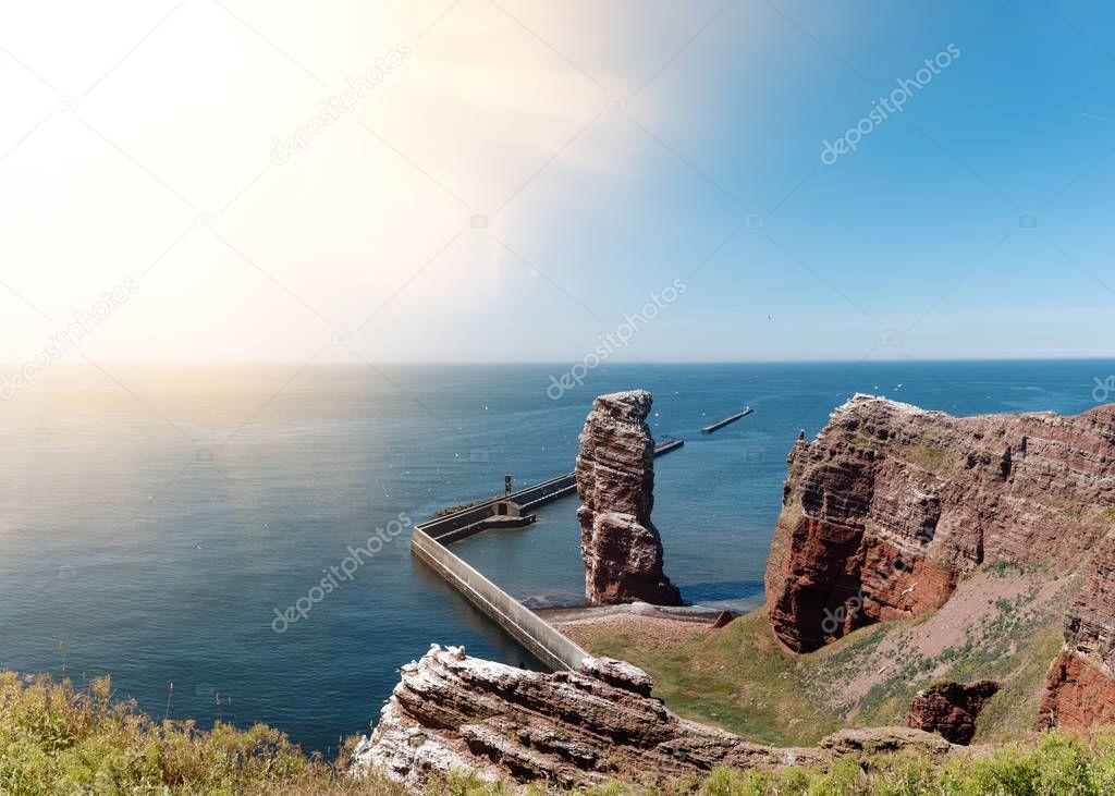 famous sea stack Lange Anna on island of Heligoland