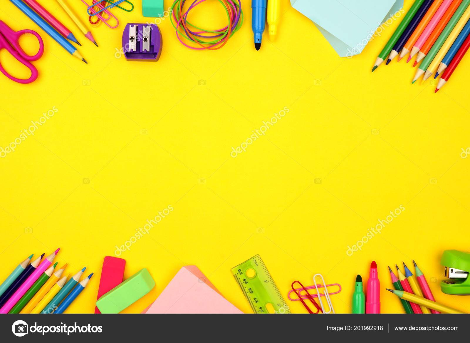 school supplies double border bright yellow paper background stock