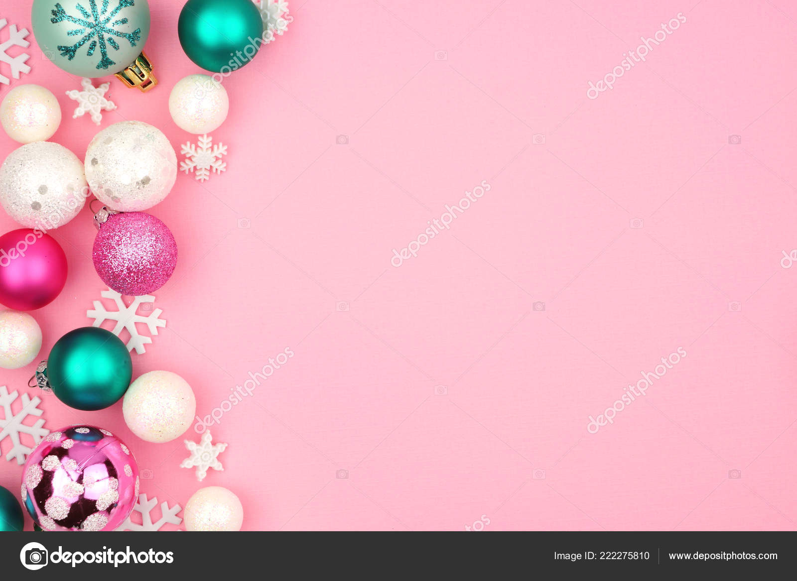 Modern Pastel Christmas Bauble Side Border Light Pink