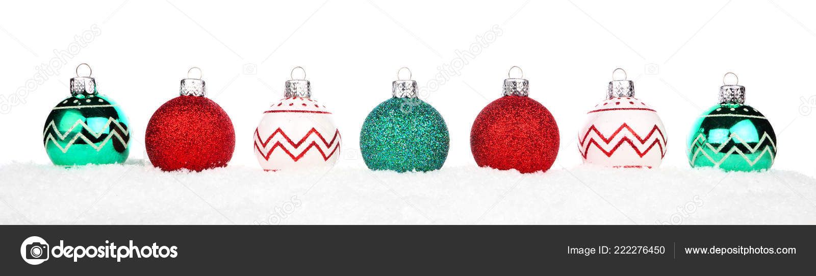 Christmas Border Red Green White Ornaments Snow Isolated White