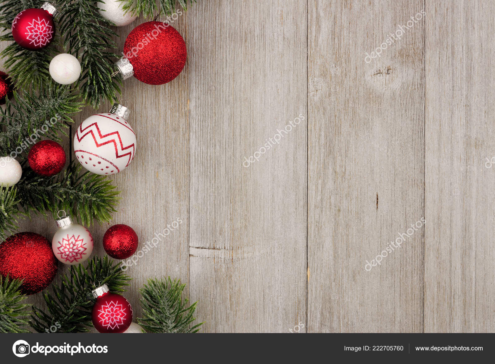 Christmas Side Border Red White Baubles Tree Branches Rustic Gray Stock Photo Image By C Jenifoto 222705760