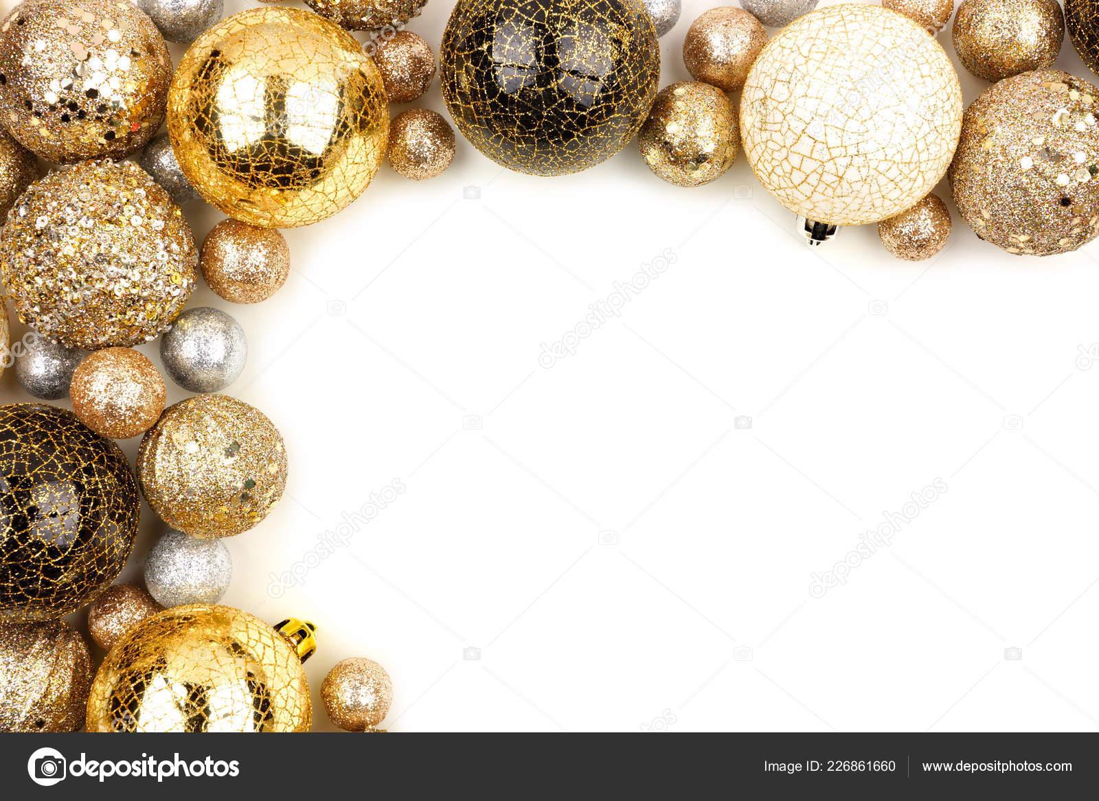 new years eve corner border gold black white ornaments white stock photo