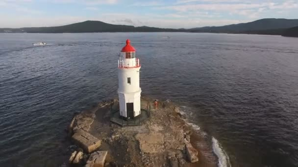 Aerial summer view of the Tokarevskiy lighthouse - one of the oldest lighthouses in the Far East