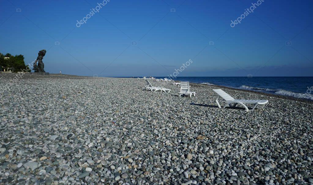 The sea coastline of Sochi to the pebbly beach.